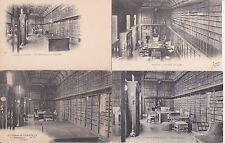 Lot 4 cartes postales anciennes CHANTILLY château la bibliothèque