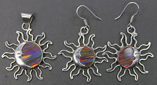 Sterling Silver Crescent Moon Face Sun Burst Pendant Earrings Combo