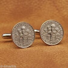 American Dime Cufflinks, Clad Coins, Torch with Oak Leaves and Olive Branch USA
