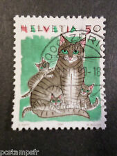 SUISSE - 1990  timbre 1342, ANIMAUX, CHATS, CATS, oblitéré, VF used STAMP