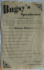 Bugsy Siegel's Speakeasy House Rules Poster 11 x 17, bar, gin joint, speak easy