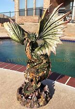 "**BACKORDER** LARGE 26"" TALL ANCIENT GREEN TREASURE DRAGON STATUE PIRATE ENEMY"