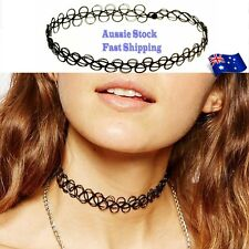 Black Tattoo Choker Necklace Vintage Elastic Stretch Gothic 80s 90s