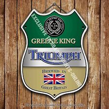 Greene King Triumph Beer Advertising Old Pub Metal Pump Badge Shield Steel Sign