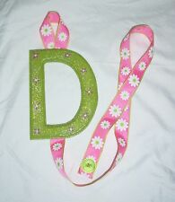 GIRLS TEEN LETTER D GREEN PINK FLOWER BARRETTE BOW HOLDER ORGANIZER STORAGE