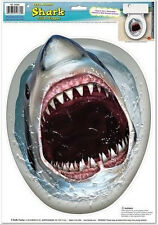 TOILET BOWL SEAT DECORATION Shark cling bathroom lid decal sticker Halloween