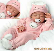 "Ashton Drake ""KATIE KITTEN"" LIFELIKE POSEABLE NEWBORN BABY DOLL-NEW- IN STOCK !"
