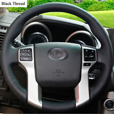 New DIY Sewing-on PU Leather Steering Wheel Cover Exact Fit For Toyota Prado