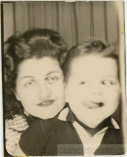 1950 Mother and Kookie Son Cross Eye Tongue Out Photo booth