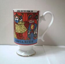 MCM Vintage Arnart Royal Crown Smug Mugs Aquarius Zodiac by Elena Footed Mug Cup