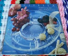 """NIB Fruitella Divided 12"""" Clear Glass Divided Serving Dish Etched Fruit Pattern"""