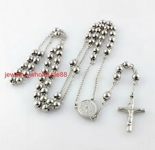 5pcs Lot Stainless steel Necklace JESUS Cross Rosary chain Fashion 4mm 26''+4''