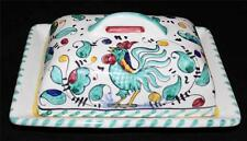 Italian Pottery Umberto GREEN ROOSTER Verde Gallo  Butter Dish with Lid Majolica