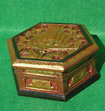 HEXAGONAL WOODEN BOX WITH HINGED LID WITH  CARVED PEACOCK DESIGN GILT FINISH