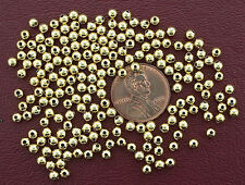 TWO HUNDRED 3mm GOLD PLATED ROUND BEADS