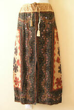 G134 Gothic Gypsy Patchwork Renaissance Heavily Embroidered Long Skirt - L