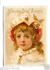 Vintage Trade Card NIAGARA CORN STARCH Blonde Girl feathered hat