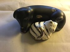 Emilia Castillo Salt and Pepper Shakers - Dog and Cat - Silver on Ceramic