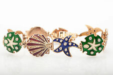 $5000 Aaron Basha ? VS G Diamond Enamel SEA SHELL STAR FISH 14k Gold Bracelet