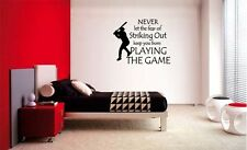 FEAR OF STRIKING OUT 2 BASEBALL LETTERING DECAL WALL VINYL DECOR STICKER SPORTS