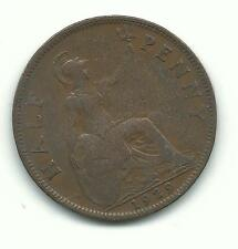 Very Nice Higher Grade 1929 Great Britain English 1/2 Half Penny Cent-Dec34
