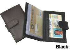 Black Business CARDS Credit ID 100% LEATHER Wallet Holder With Button Strap New