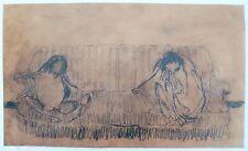 Gillet Roger Edgar crayon et pastel sur papier signée art abstrait abstraction