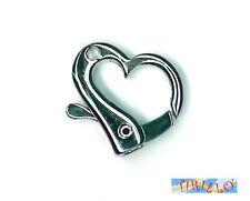 BIGIOTTERIA - 2 moschettoni chiusure a cuore per collana o bracciale 2 cm