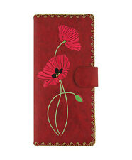 New LAVISHY Checkbook Wallet POPPY FLOWER FLORAL Vegan Leather Embroidery RED