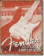 Large Fender Guitar Amplifier Vintage Weathered Metal Tin Sign Poster New 1860