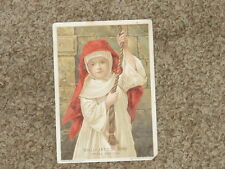 Young GIRL NUN Rings VESPER BELL On WILLIMANTIC THREAD 1893 Victorian Trade Card