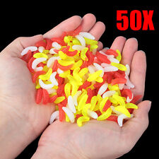 50PCS 2.2cm Maggot Grub Soft Lure Baits Worms Glow Shrimps Fishing Lures