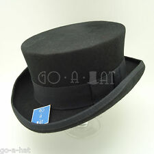 Wool Felt Tuxedo Topper Top Hat Men Short | 57cm | Black | VINTAGE x FORMAL
