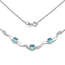 STERLING SILVER BLUE TOPAZ & DIAMOND NECKLACE MOTHERS DAY ANNIVERSARY GIFT