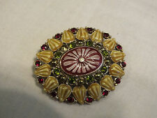 Beautiful Brooch Pin Gold Tone Gold Enamel Lime Red Rhinestones Signed LC WOW