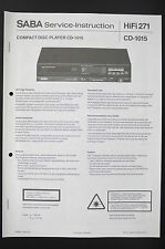 SABA CD Player CD-1015 Original Service-Instruction/Manual/Diagram/Schaltplan 87