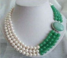 3 Rows Jewelry 7-8MM Real White Freshwater Pearl & Natural Green Jade Necklace