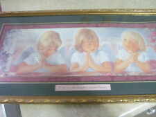 HOME INTERIOR / HOMCO PICTURE WITH 3 ANGELS MATT:8-20 GOLD INLAY FRAME
