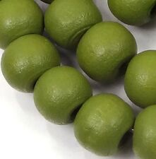 """10x8mm Olive Green  Wood Rondelle Beads 16""""  4mm hole"""