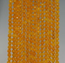 4MM  AGATE GEMSTONE HONEY YELLOW FACETED ROUND LOOSE BEADS 15""