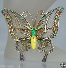 VINTAGE SILVER,RED,YELLOW,GREEN ENAMEL FILIGREE CHINESE BUTTERFLY BROOCH/PIN