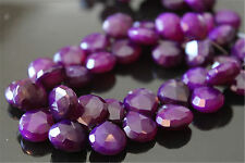 Purple Chalcedony Faceted Heart Briolettes 10 - 11 mm 6 gemstone beads