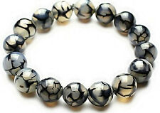 8MM Natural Black Dragon Veins Agate Round Gemstone Stretchy Bangle Bracelet