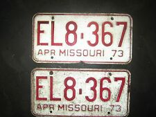 1973, APR EL8-367  Missouri  License Plate Pair/ RED AND WHITE