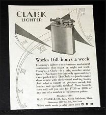 1927 OLD MAGAZINE PRINT AD, CLARK LIGHTER, A SAFE SURE-FIRE SMOKE IGNITER, ART!