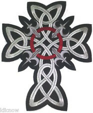 "CELTIC CROSS (Large) EMBROIDERED BACK PATCH 25CM X 30CM (9 1/2"" X 12"")"