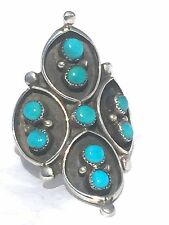 Vintage Sterling Silver Turquoise Ring Southwest Tribal Size 8.75 7.0g Petite Po