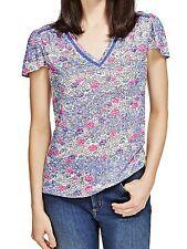 M&S Per Una sz 10 Jersey T-Shirt Top Floral Print Inset Lace V Neck New rrp £25