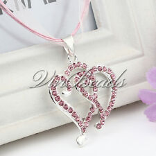 Sweet Pink Ribbon Necklace Rhinestone Double Heart Love Necklace For Girls