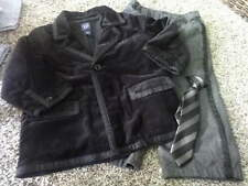 BABY GAP 2 YRS 2T BLACK VELOUR JACKET PANTS TIE SET DARLING